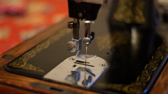 4K Close up shot of empty vintage sewing machine needle moving up and down Stock Footage