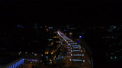 Flying over the city streets at night. Khreshchatyk, Kyiv, Ukraine. Aerial view. Stock Footage