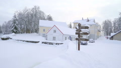 Snow covering the entire lawn in Vihula manor Stock Footage