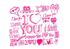 heart drawing and valentines day hearts for your works - stock illustration