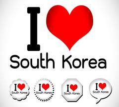 I Love south korea - stock illustration