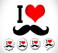 i love mustache I love Hipster style - stock illustration