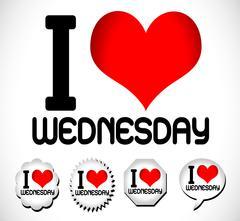 I Love The Days of the Week Sunday , Monday , Tuesday , Wednesday , Thursday  - stock illustration