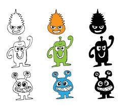 Cartoon cute monsters - stock illustration