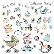 set newborn baby items - stock illustration