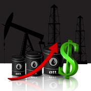 Vector illustration of oil barrel with red arrow - stock illustration