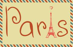 Tower Eiffel with Paris lettering. Vector illustration - stock illustration