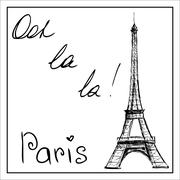 Eiffel Tower. The word Paris. On a white background. Stock Illustration
