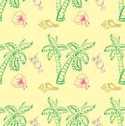 Sea shell, palm tree seamless pattern. Stock Illustration