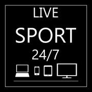 Sport live on all mobile devices - laptop, smart phone, tablet, - stock illustration