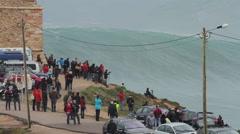 Huge waves crash - stock footage