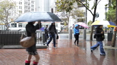 Pedestrians and commuters walk in rain - stock footage
