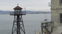 Empty watchtower, Alcatraz Island Stock Footage