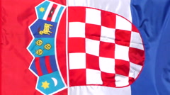 Croatian flag waving in the wind Stock Footage