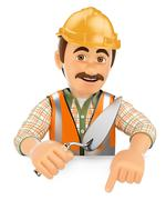 Stock Illustration of 3D Construction worker with a trowel pointing down. Blank space