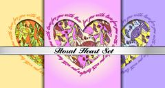 Stock Illustration of Set of decorative hearts with floral ornament.