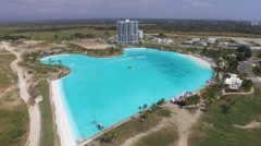 Aerial Shot of Resort and Giant Saltwater Pool - stock footage