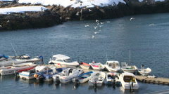Boats moored along pier in small Greenlandic harbour Stock Footage