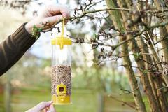 Man Hanging Bird Feeder In Garden Stock Photos