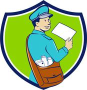 Stock Illustration of Mailman Deliver Letter Crest Cartoon