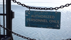 Authorized Personnel Only sign at Navy Pier Chicago 4k Stock Footage
