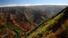 Waimea Canyon pan with waterfall Stock Footage