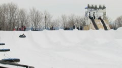 Snowtubing hill in Montreal, Quebec, Canada Stock Footage