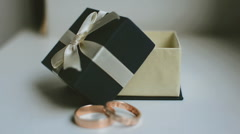 Wedding rings and a box Stock Footage