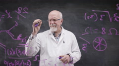 4K Scientist in white coat writing math formula on glass screen in front of came - stock footage