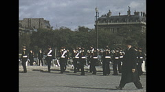 Vintage 16mm film, 1955, Paris French army parade Stock Footage