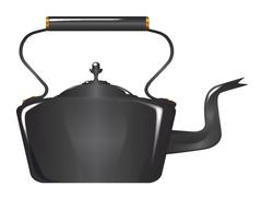 Victorian Cast Iron Kettle Stock Illustration