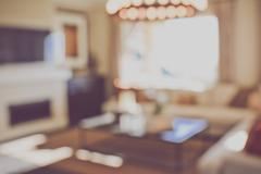 Blurred Modern Living Room with Television applying Retro Instagram Style Fil Stock Photos