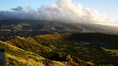 Diamond Head, scenic Honolulu aerial Stock Footage