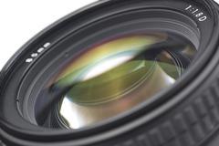 Closeup of a photographic lens Stock Photos