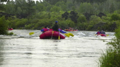 Many rafting boats Stock Footage
