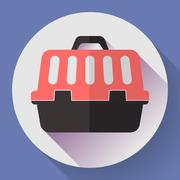 Pet dog travel cage flat icon with long shadow Stock Illustration