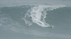 Stock Video Footage of Big wave surfer wipeout