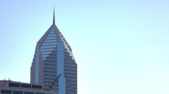 Two Prudential Plaza on bright blue sky 4k Stock Footage