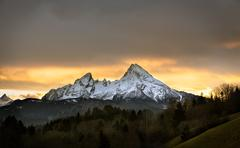Watzmann at sunset, Berchtesgadener Land, Germany Stock Photos