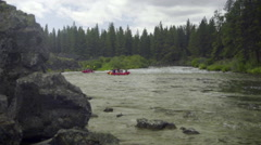 Red rafting boats Stock Footage