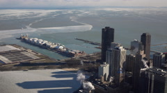 Navy Pier and city overview aerial shot Chicago 4k Stock Footage