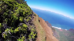 Dangerous POV hike, scenic Hawaii Stock Footage
