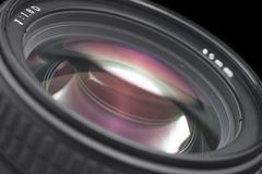 Closeup of a photographic lens Stock Photos
