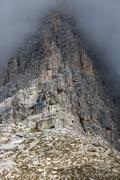 Rock face in Tre Cime National Park, Dolomites, Italy Stock Photos