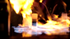 Burning cocktail in night club Stock Footage