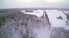 Aerial view of the whole city covered in snow Stock Footage