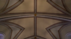 Stock Video Footage of Tracking Shot of Loretto Chapel Interior in Santa Fe, New Mexico -Tilt Down-
