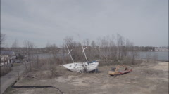 Hurrican Sandy damage, aerial Stock Footage