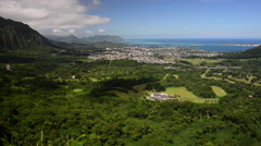 Nu'uanu Pali Lookout, Hawaii aerial Stock Footage