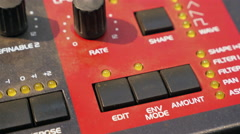 Dolly shot of sound synthesizer. Equipment of recording studio. Stock Footage